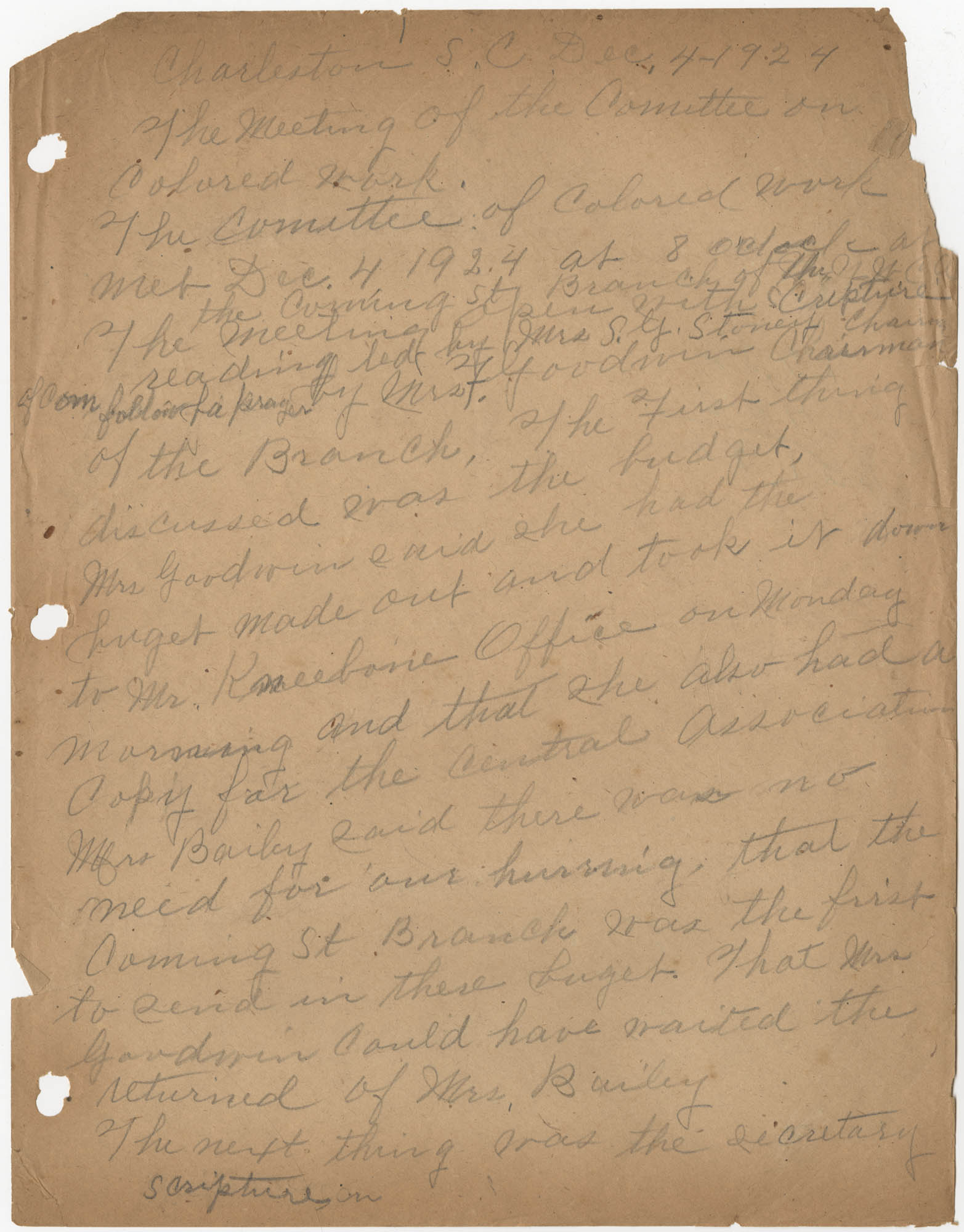 Minutes, Coming Street Y.W.C.A., December 4, 1924