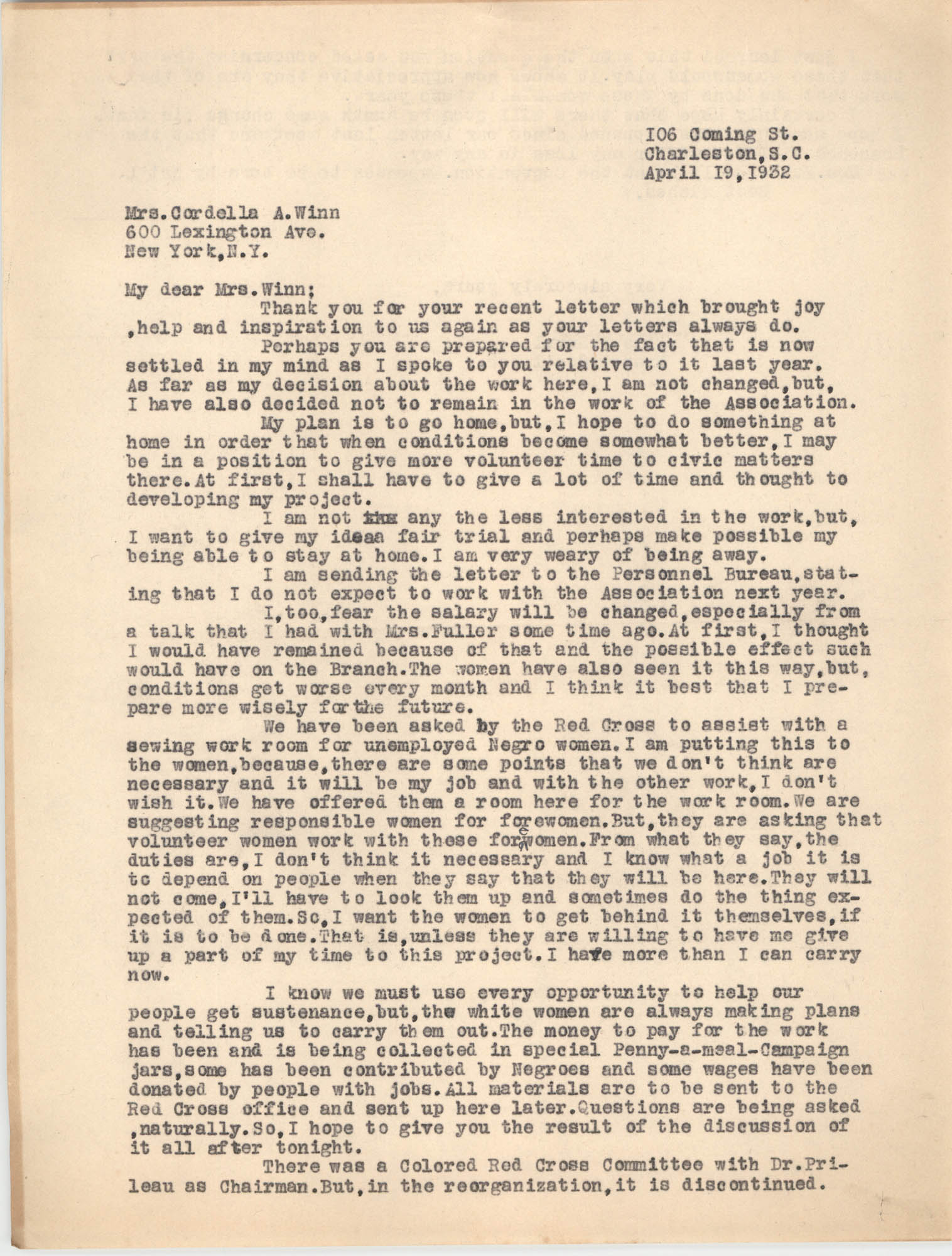 Letter from Ella L. Smyrl to Cordella A. Winn, April 19, 1932