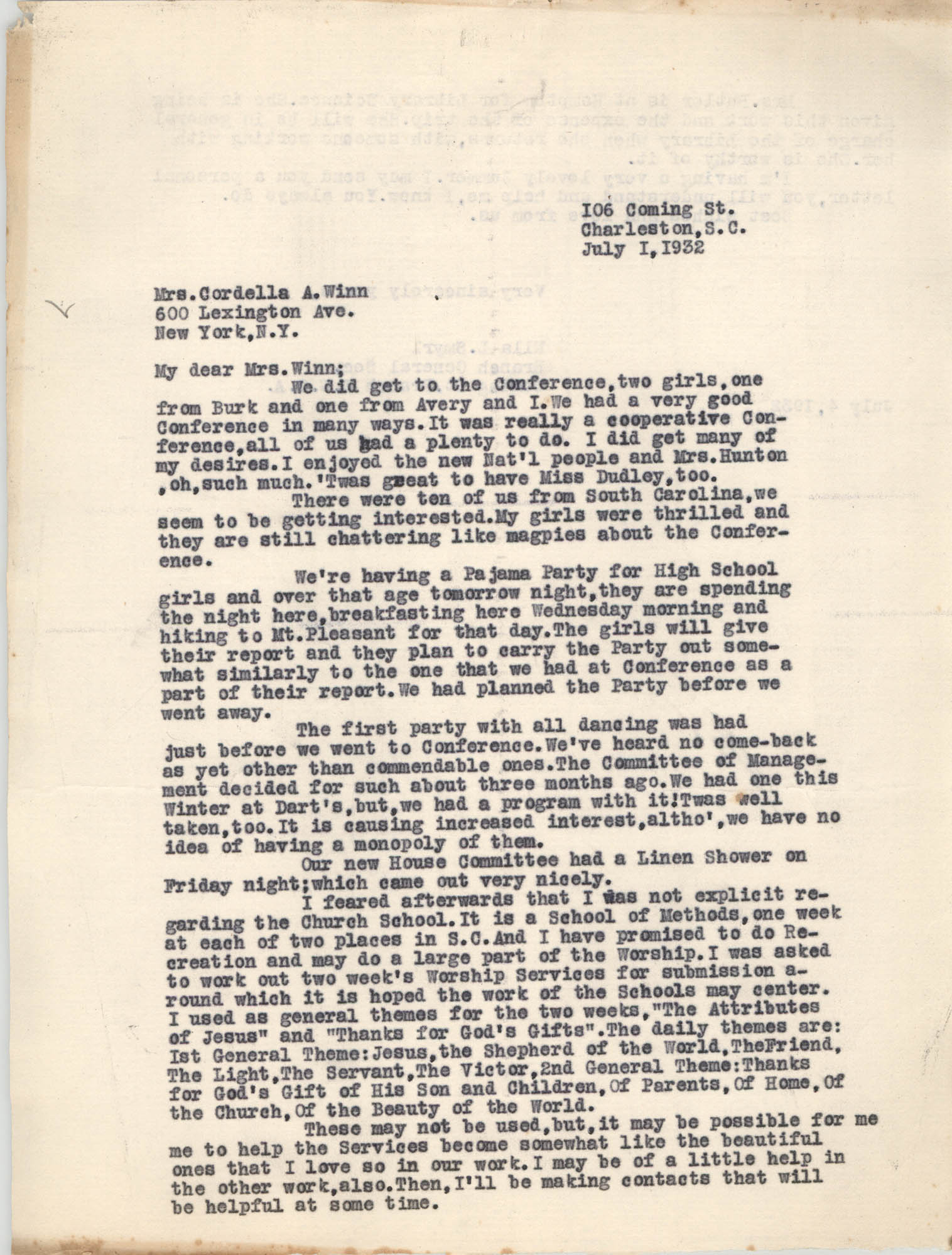 Letter from Ella L. Smyrl to Cordella A. Winn, July 1, 1932