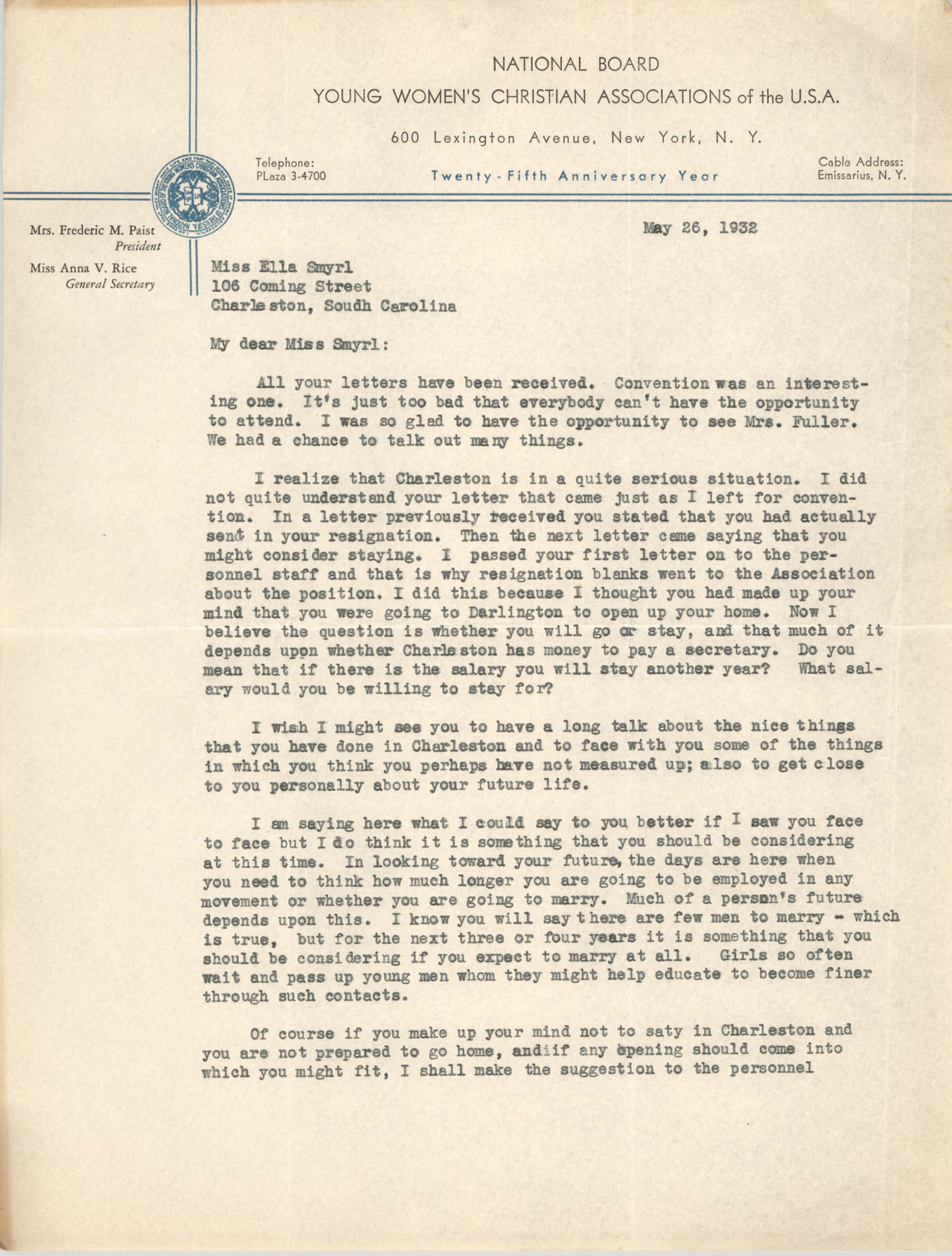 Letter from Cordella A. Winn and Ella L. Smyrl, May 26, 1932
