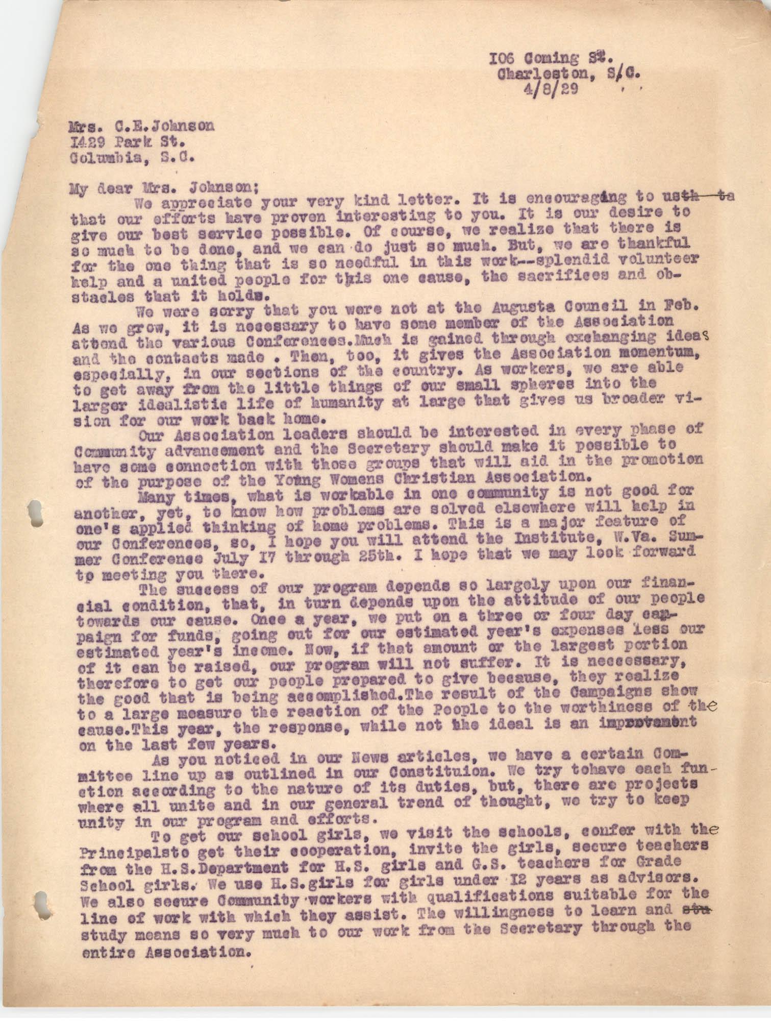 Letter from Ella L. Smyrl to C. E. Johnson, April 8, 1929