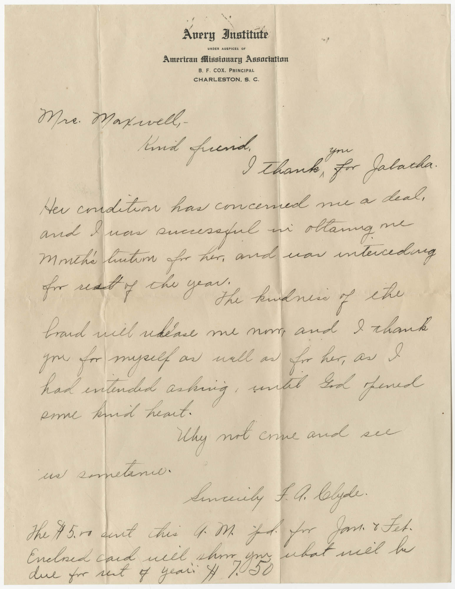 Letter from F. A. Clyde to