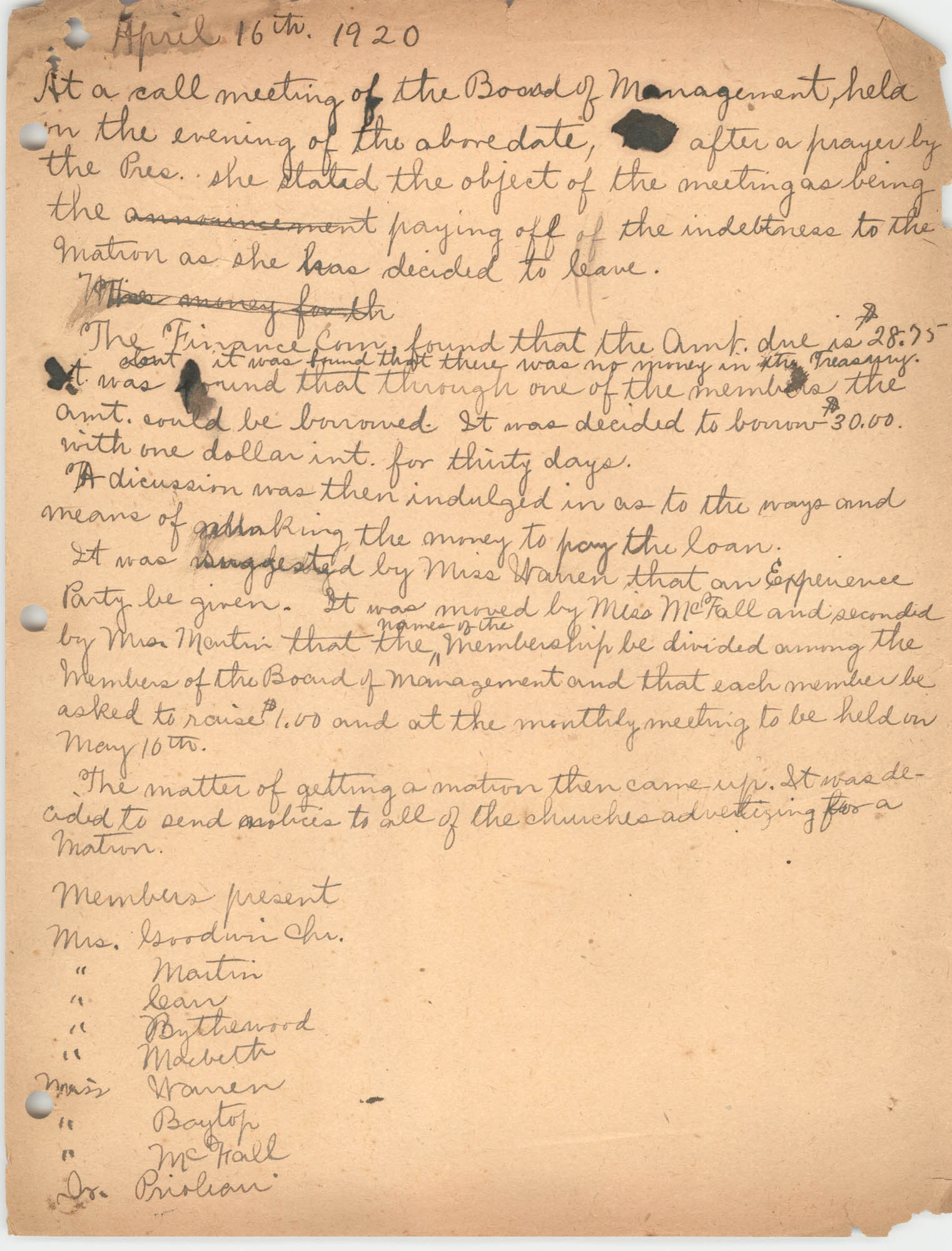Minutes to the Board of Management, Coming Street Y.W.C.A., April 16, 1920