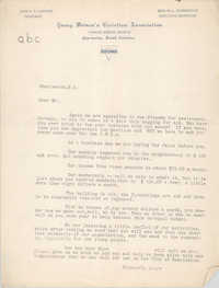 Letter from Coming Street Y.W.C.A.