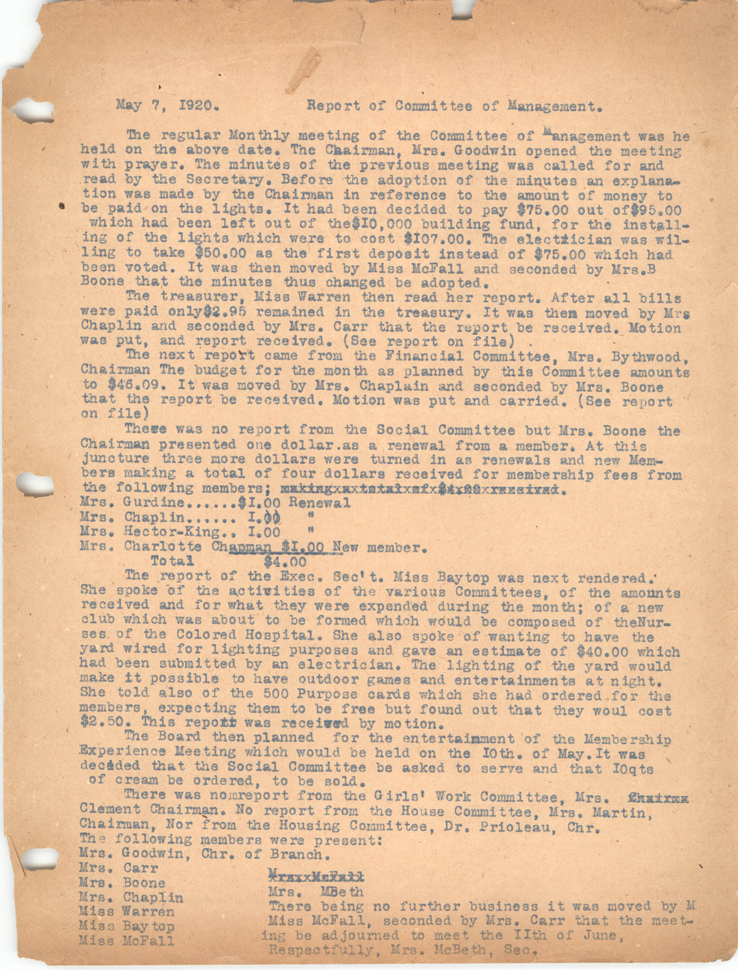 Report of Committee of Management, May 7, 1920
