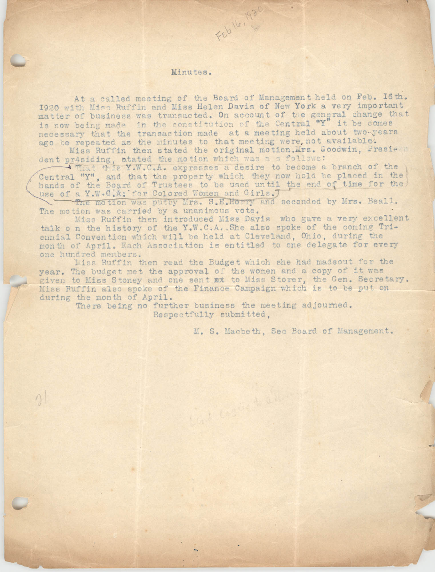 Minutes, Coming Street Y.W.C.A., February 16, 1920