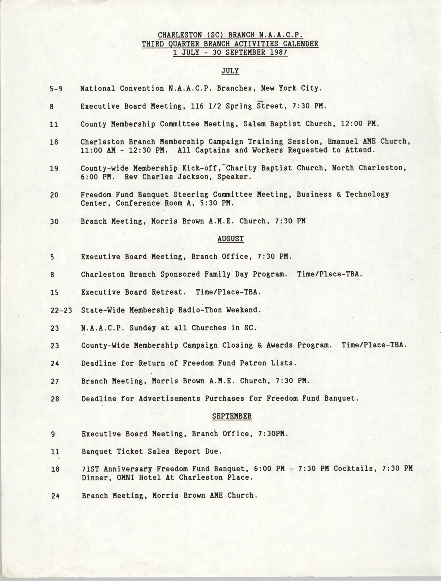 Third Quarter Branch Activities Calendar, National Association for the Advancement of Colored People, 1987