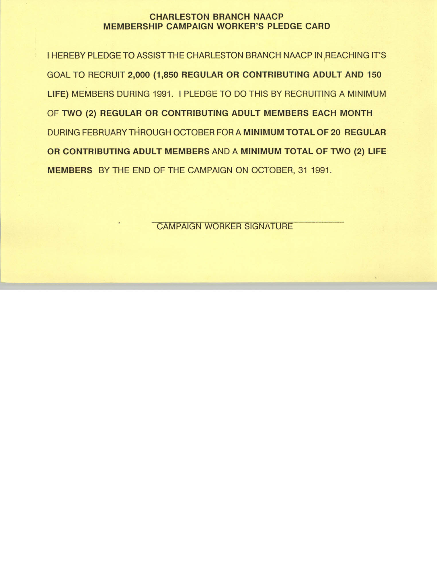 Membership Campaign Worker's Pledge Card, National Association for the Advancement of Colored People, 1991