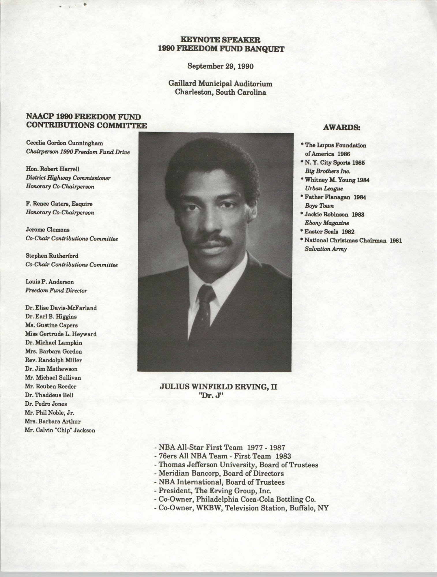 Keynote Speaker Flyer, Julius Winfield Erving, II, 1990 Freedom Fund Banquet, Charleston Branch of the NAACP