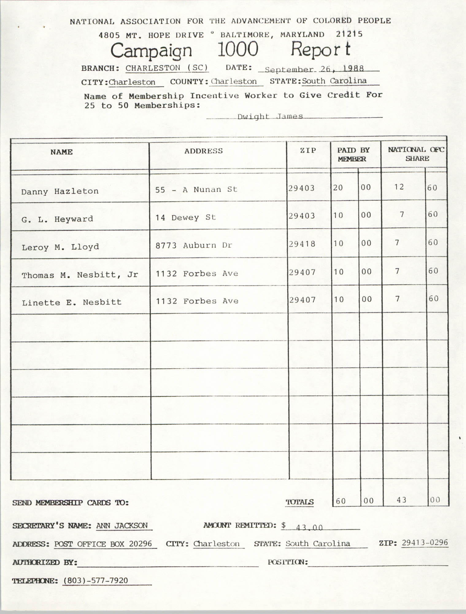 Campaign 1000 Report, Dwight James, Charleston Branch of the NAACP, September 26, 1988