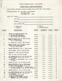 South Carolina Bar, Seminar Materials Order Form