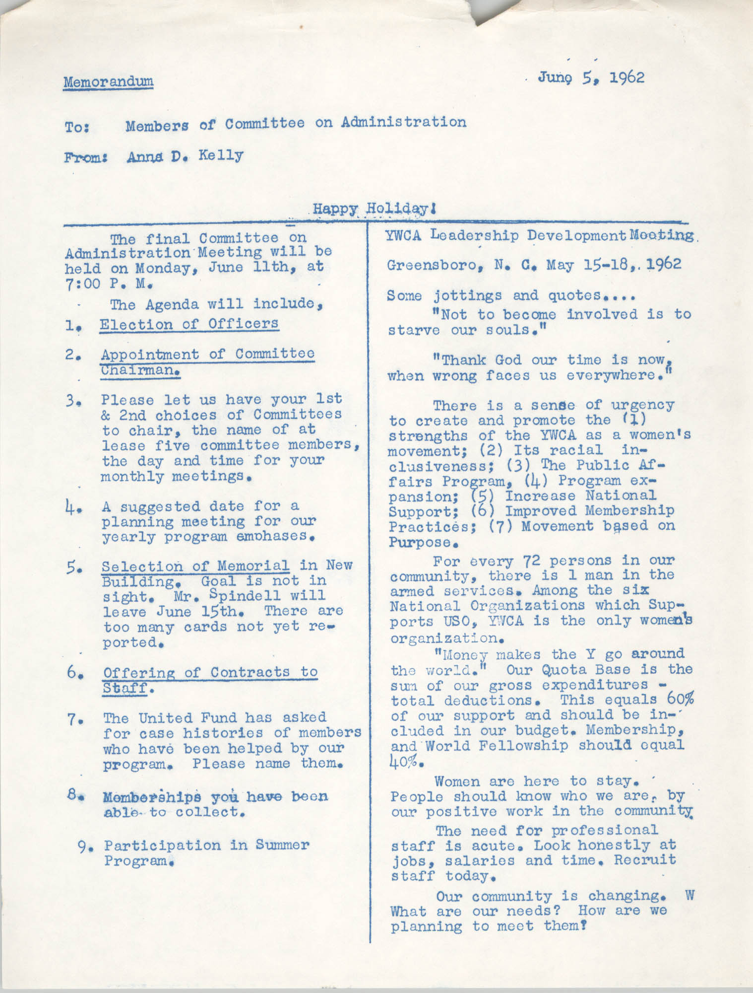Coming Street Y.W.C.A. Memorandum, July 17, 1962
