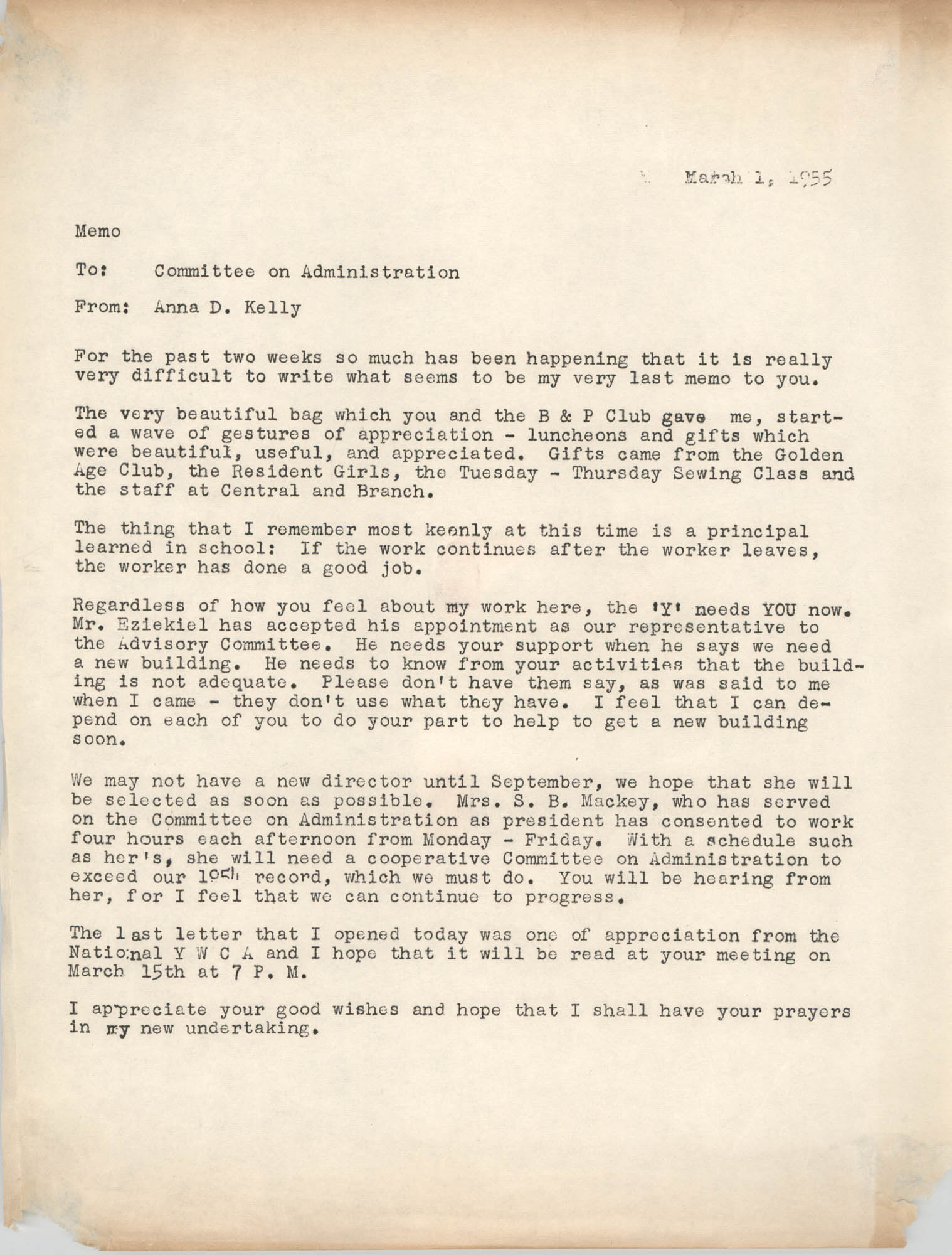 Coming Street Y.W.C.A. Memorandum, March 1, 1955