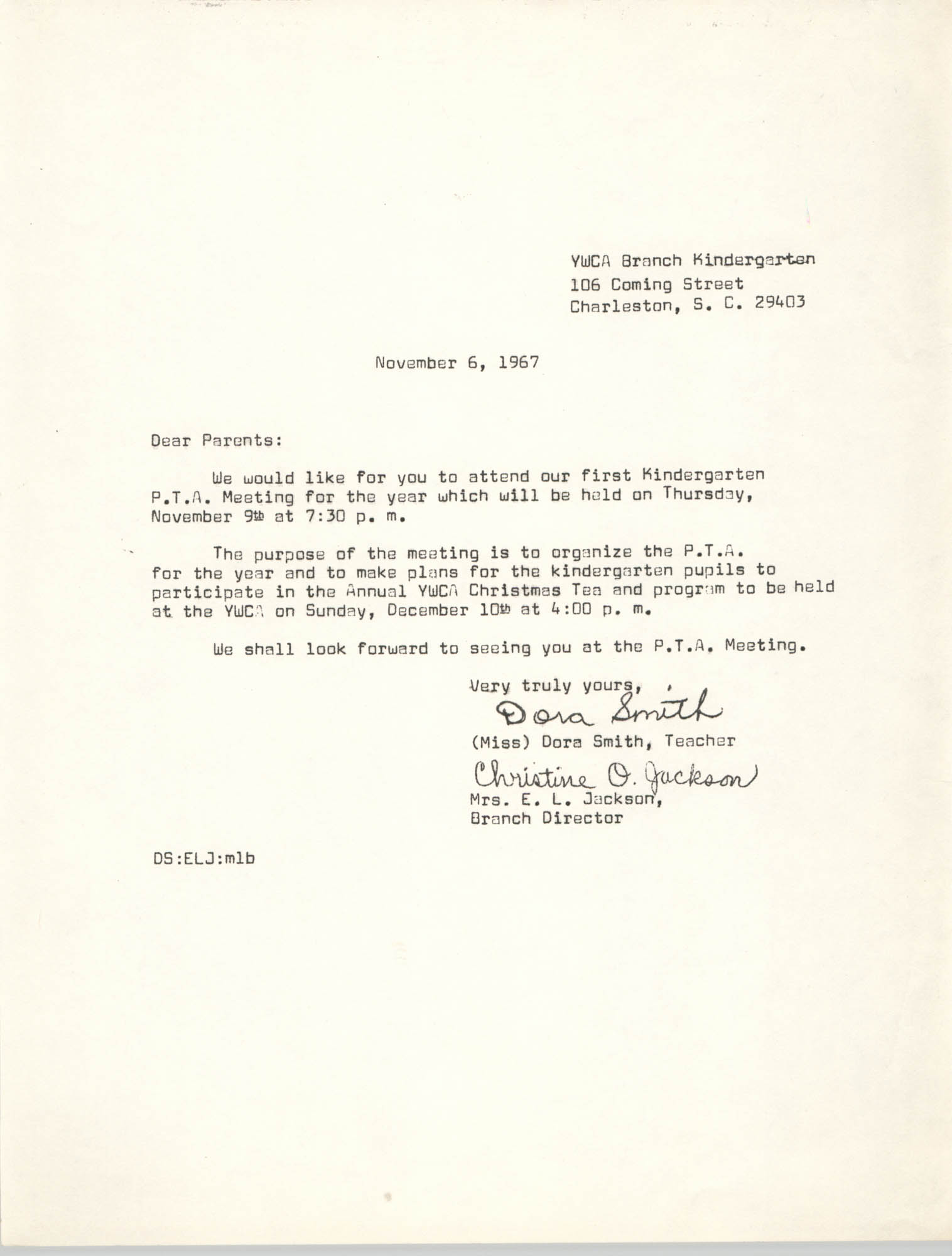 Letter from Dora Smith and Christine O. Jackson to Parents, November 6, 1967
