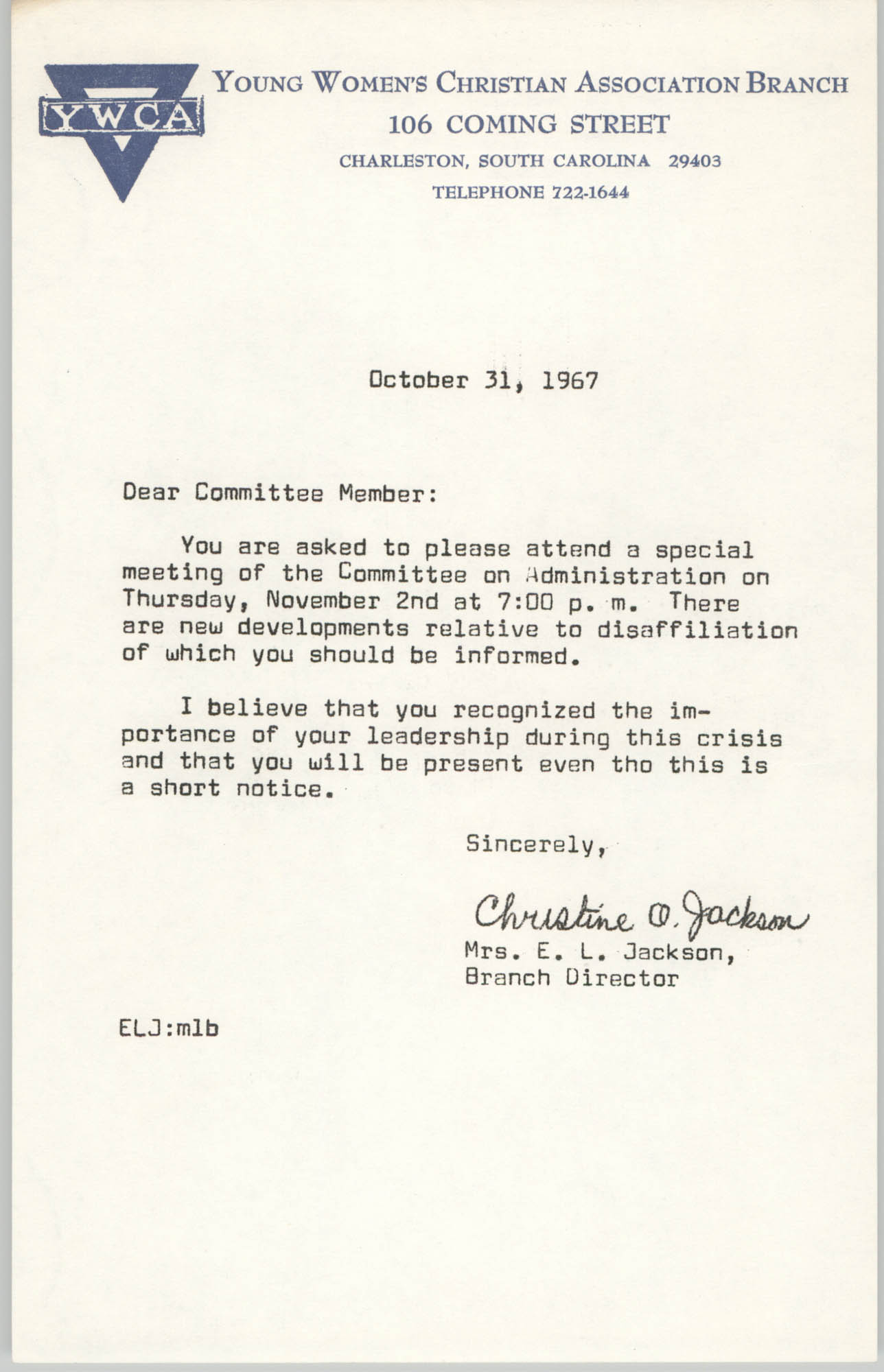 Letter from Christine O. Jackson to Y.W.C.A. of October 31, 1967