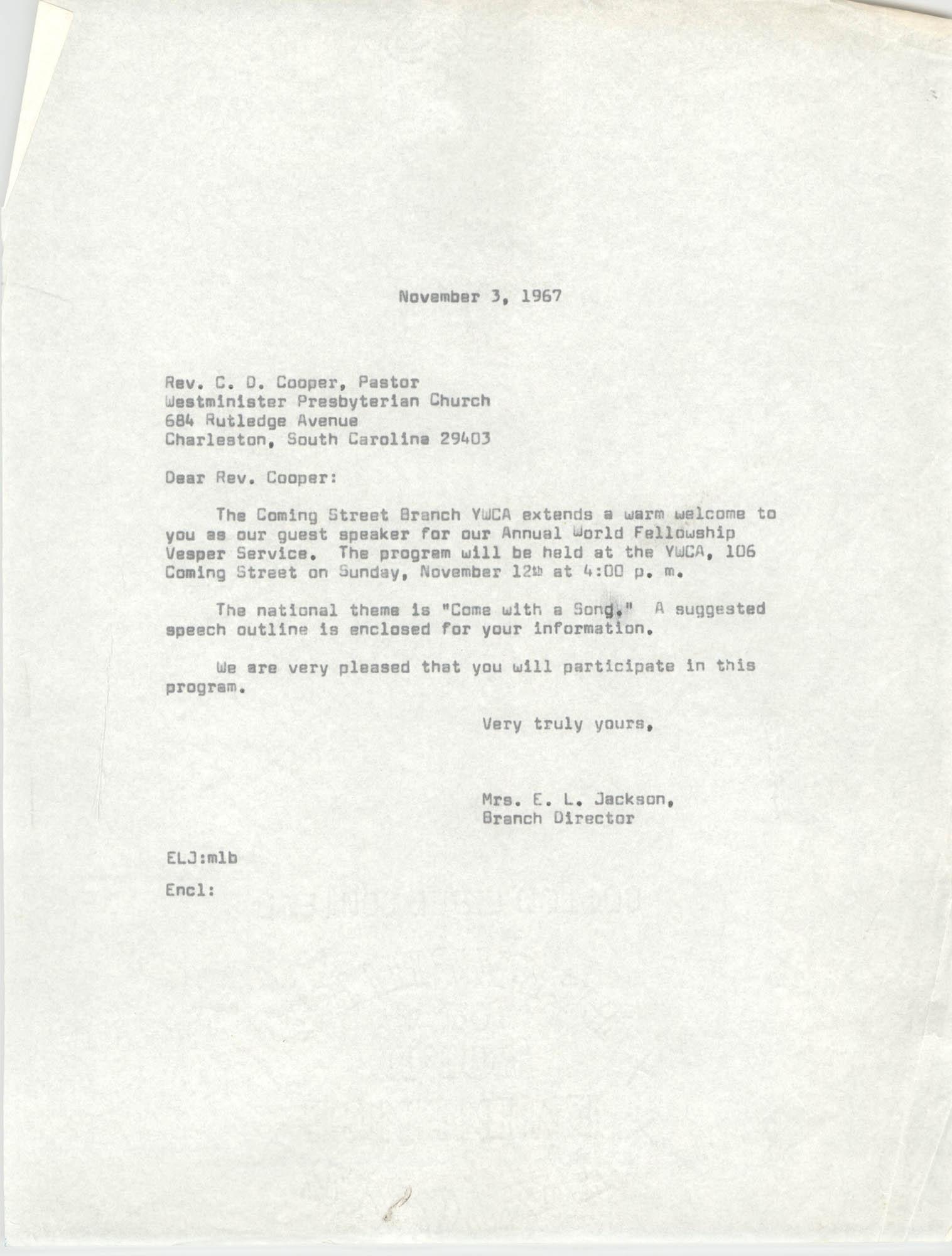 Letter from Christine O. Jackson to C. D. Cooper, November 3, 1967