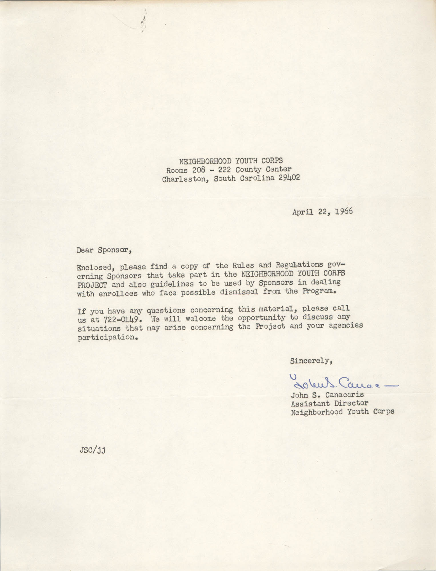 Letter from John S. Canacaris, April 22, 1966