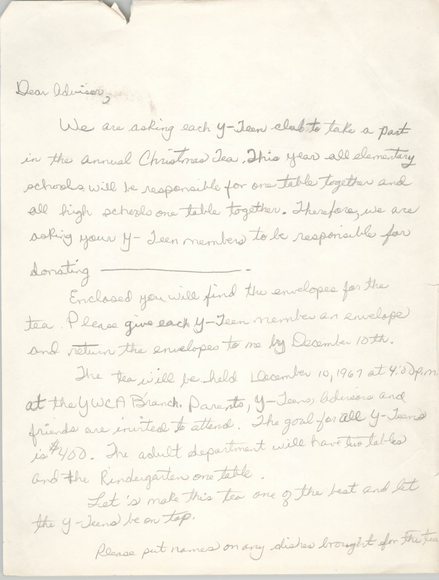 Letter from Coming Street Y.W.C.A. to Advisors, 1967
