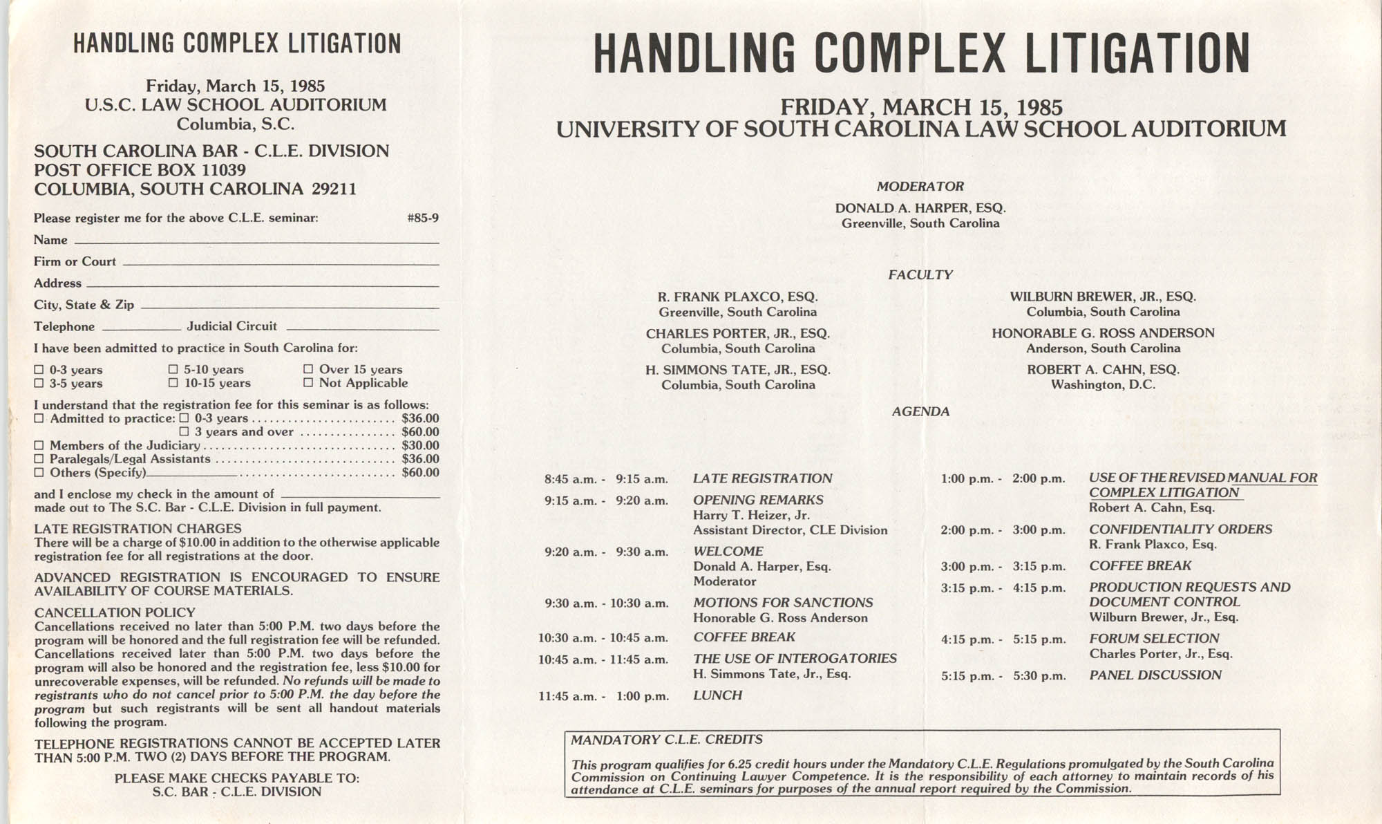 Handling Complex Litigation, Continuing Legal Education Seminar Pamphlet, March 15, 1985
