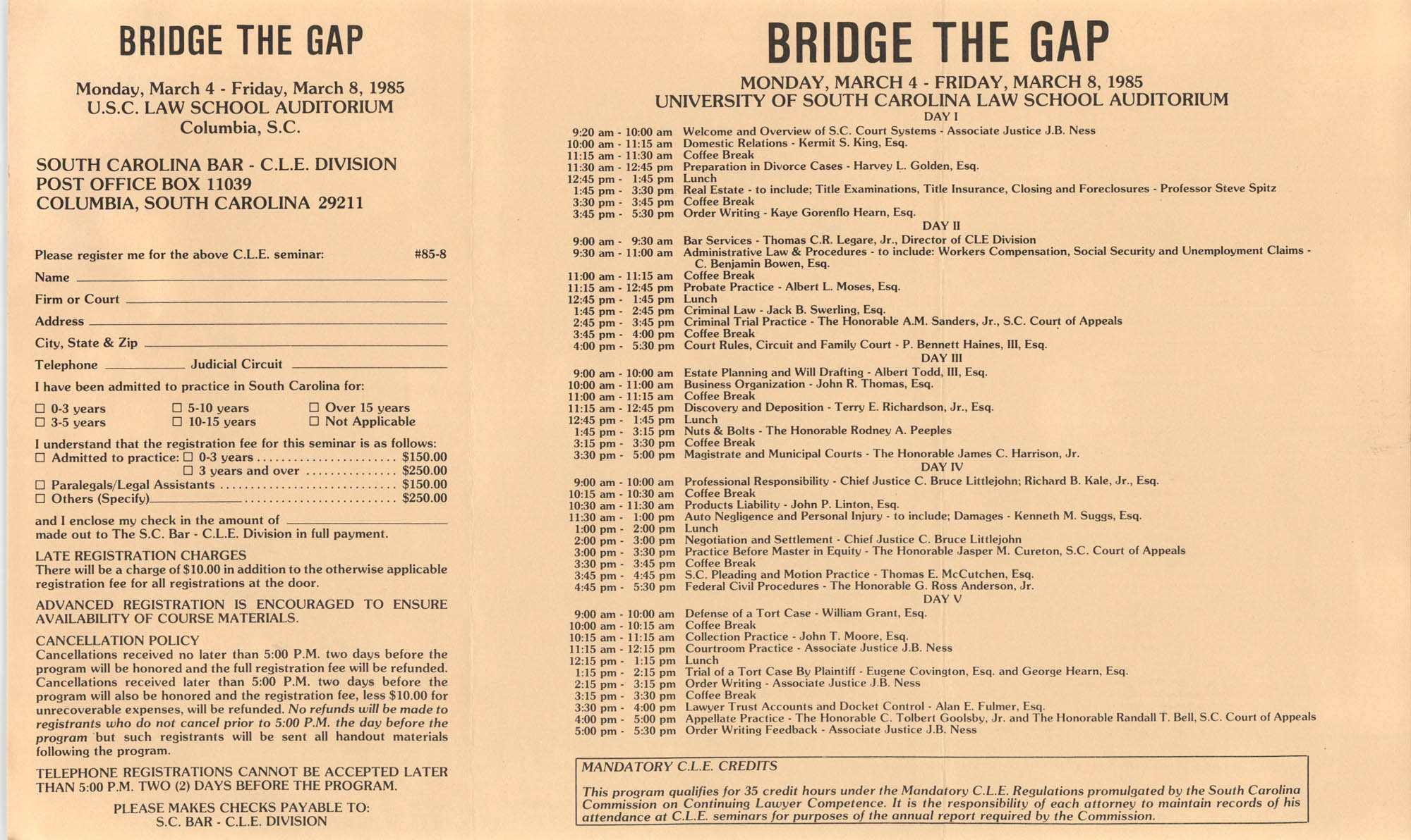 Bridge the Gap, Continuing Legal Education Seminar Pamphlet, March 4-8, 1985
