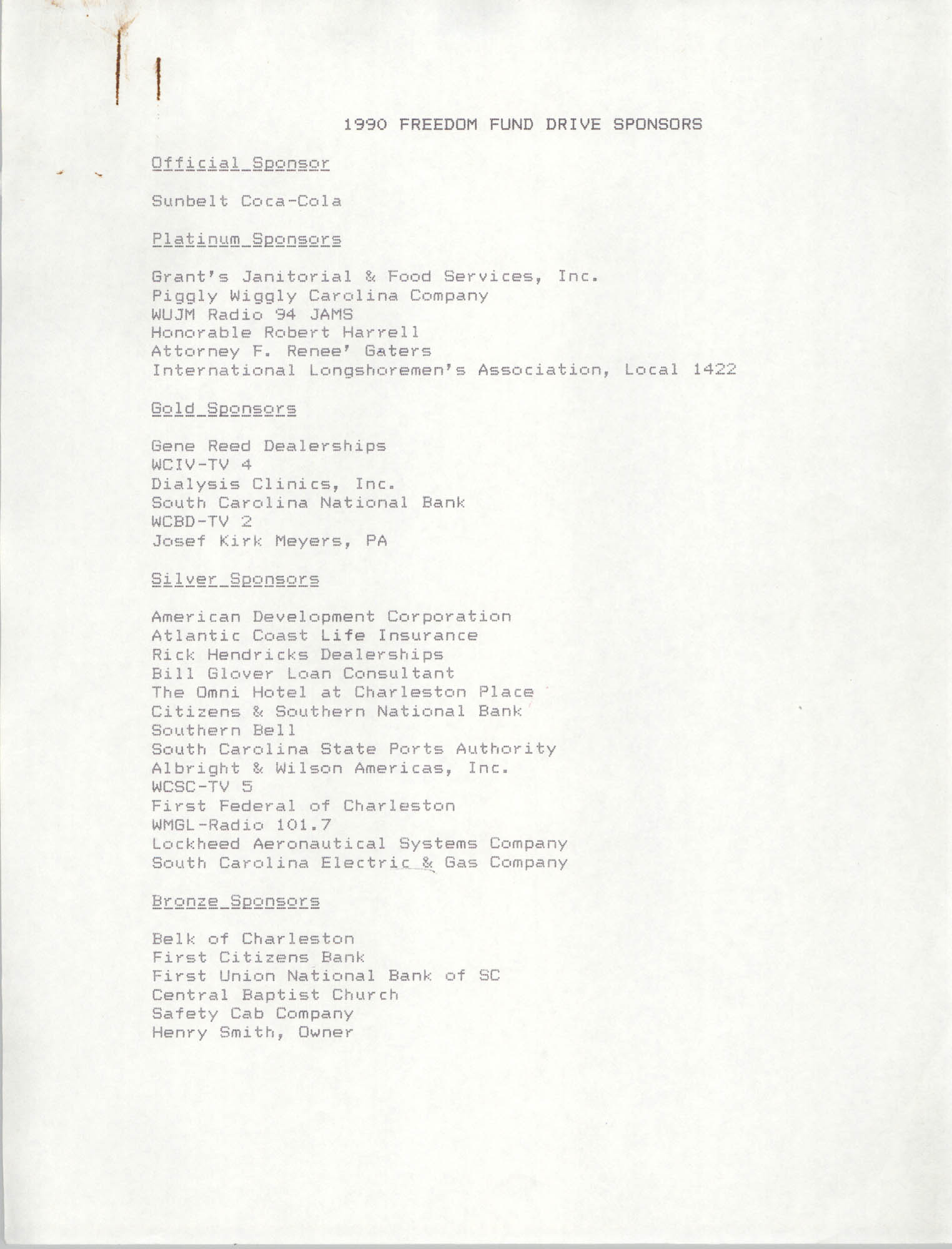 List of 1990 Freedom Fund Drive Sponsors