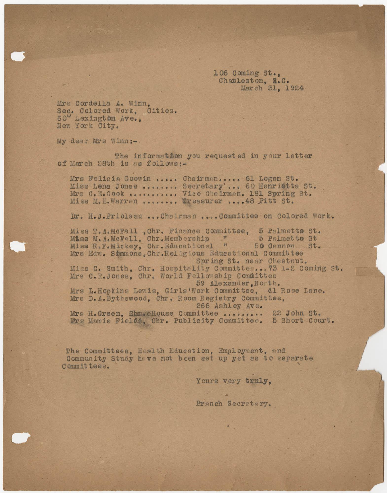 Letter to Cordella A. Winn, March 31, 1924