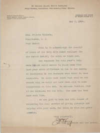 Letter from James P. King to Felicia Goodwin, May 2, 1924