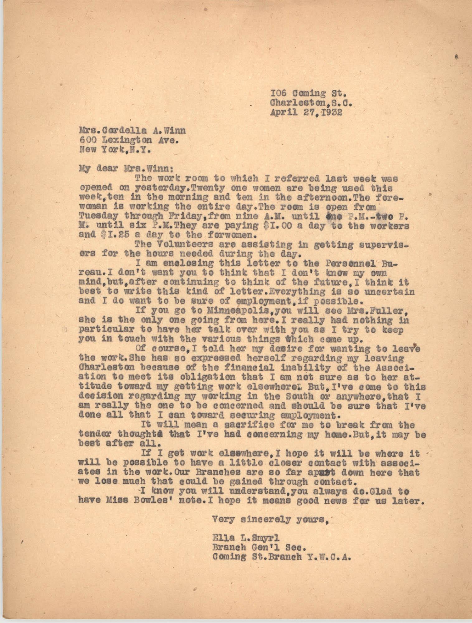 Letter from Ella L. Smyrl to Cordella A. Winn, April 27, 1932