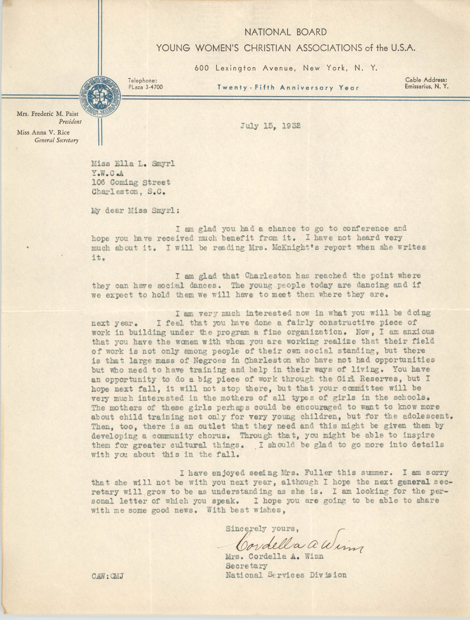 Letter from Cordella A. Winn to Ella L. Smyrl, June 15, 1932