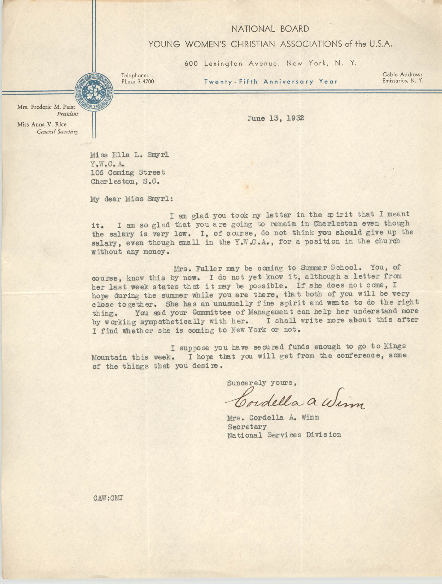 Letter from Cordella A. Winn to Ella L. Smyrl, June 13, 1932
