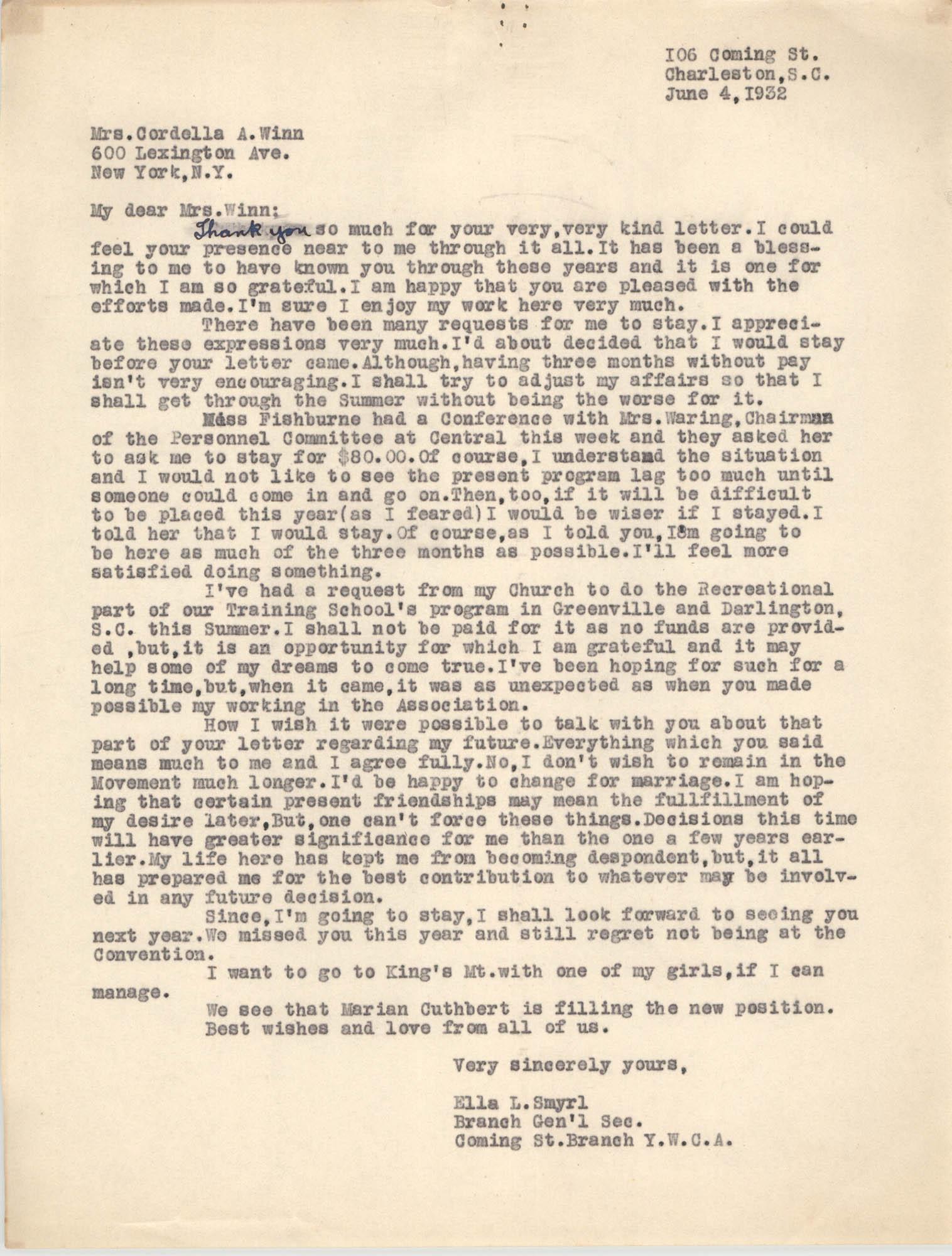 Letter from Ella L. Smyrl to Cordella A. Winn, June 4, 1932