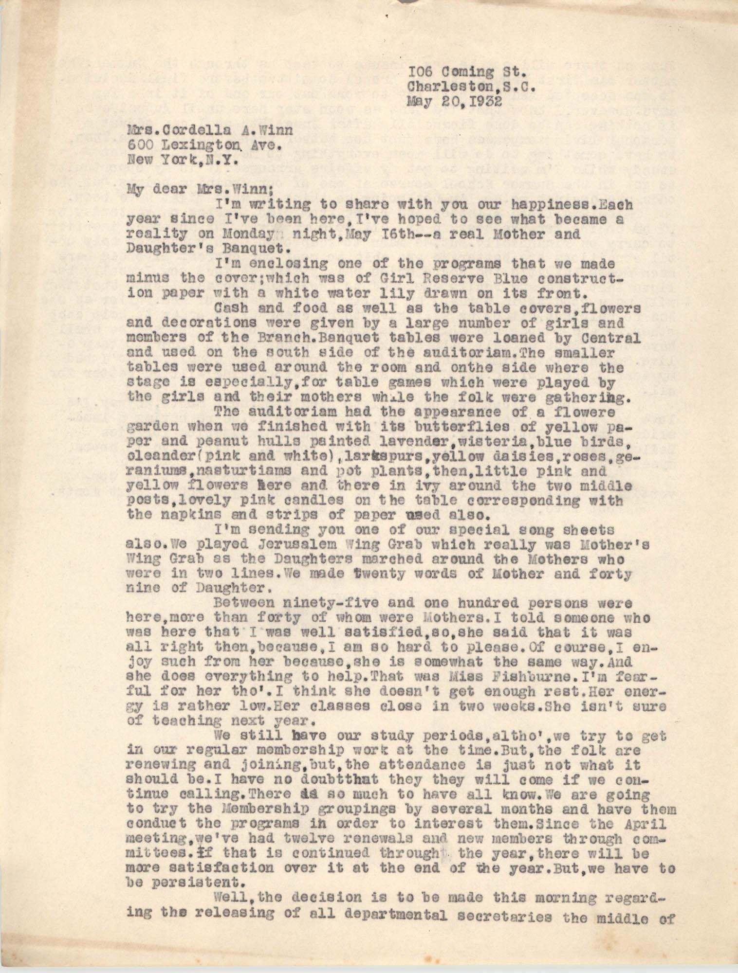 Letter from Ella L. Smyrl to Cordella A. Winn, May 20, 1932