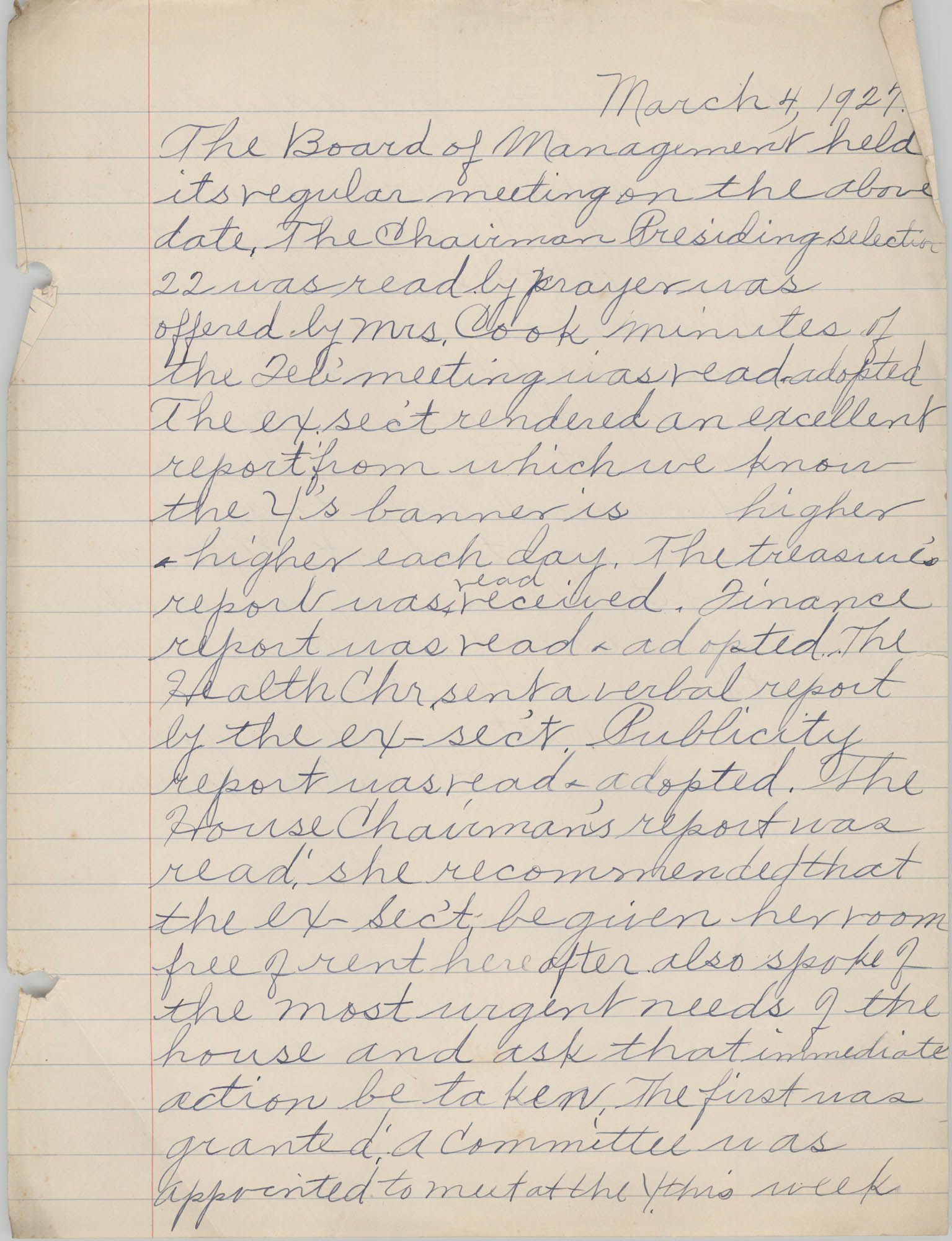 Minutes to the Board of Management, Coming Street Y.W.C.A., March 4, 1927