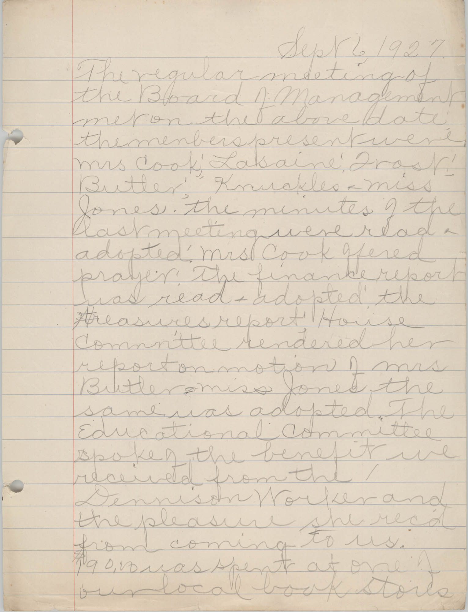 Minutes to the Board of Management, Coming Street Y.W.C.A., September 6, 1927