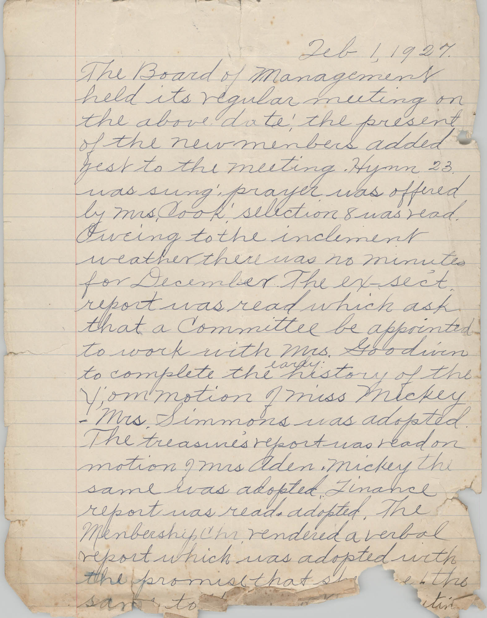 Minutes to the Board of Management, Coming Street Y.W.C.A., February 1, 1927