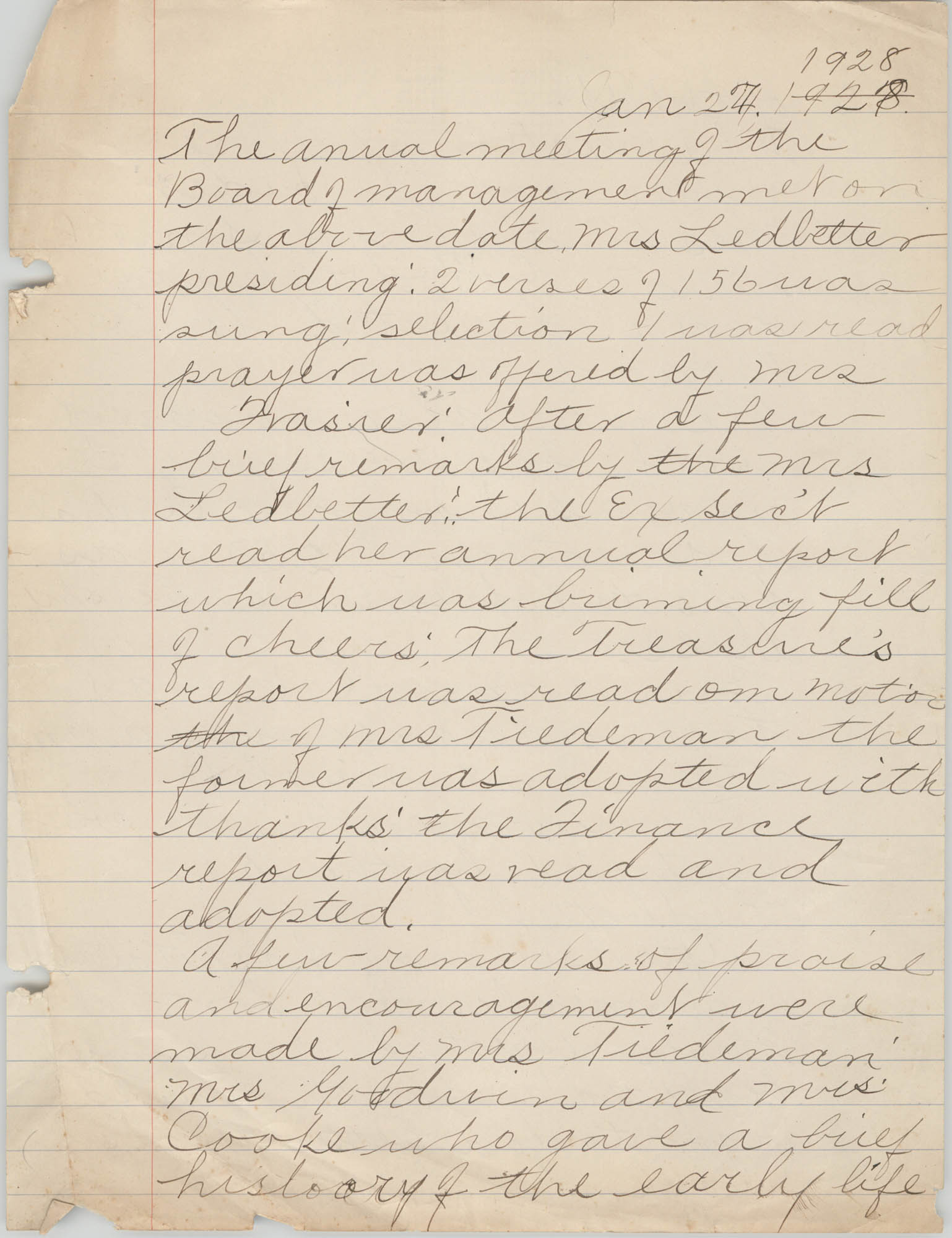 Minutes to the Board of Management, Coming Street Y.W.C.A., January 27, 1928