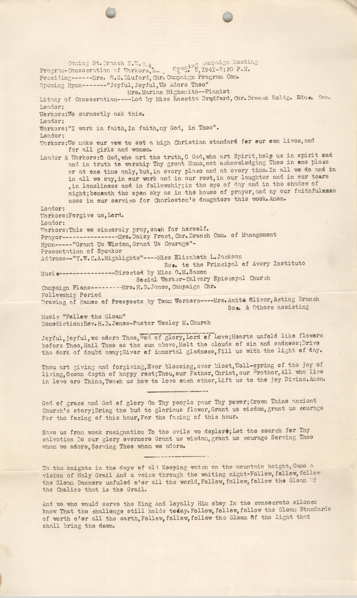 Minutes to the Opening Campaign Meeting, Coming Street Y.W.C.A., 1941