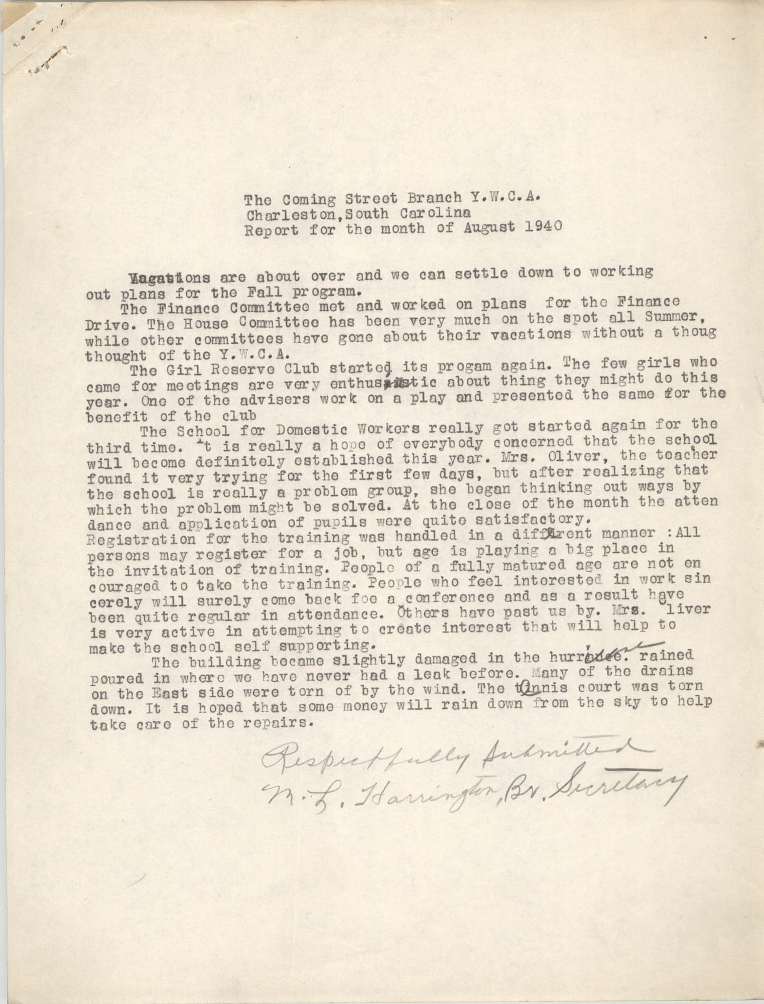 Monthly Report for the Coming Street Y.W.C.A., August 1940