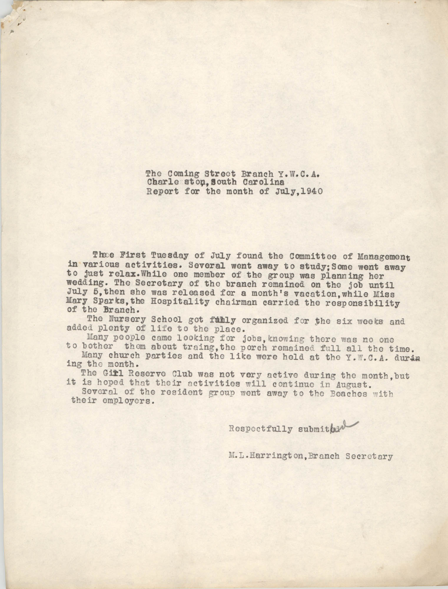 Monthly Report for the Coming Street Y.W.C.A., July 1940