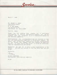 Letter from Arlene Zimmerman to Dwight C. James, March 1, 1989