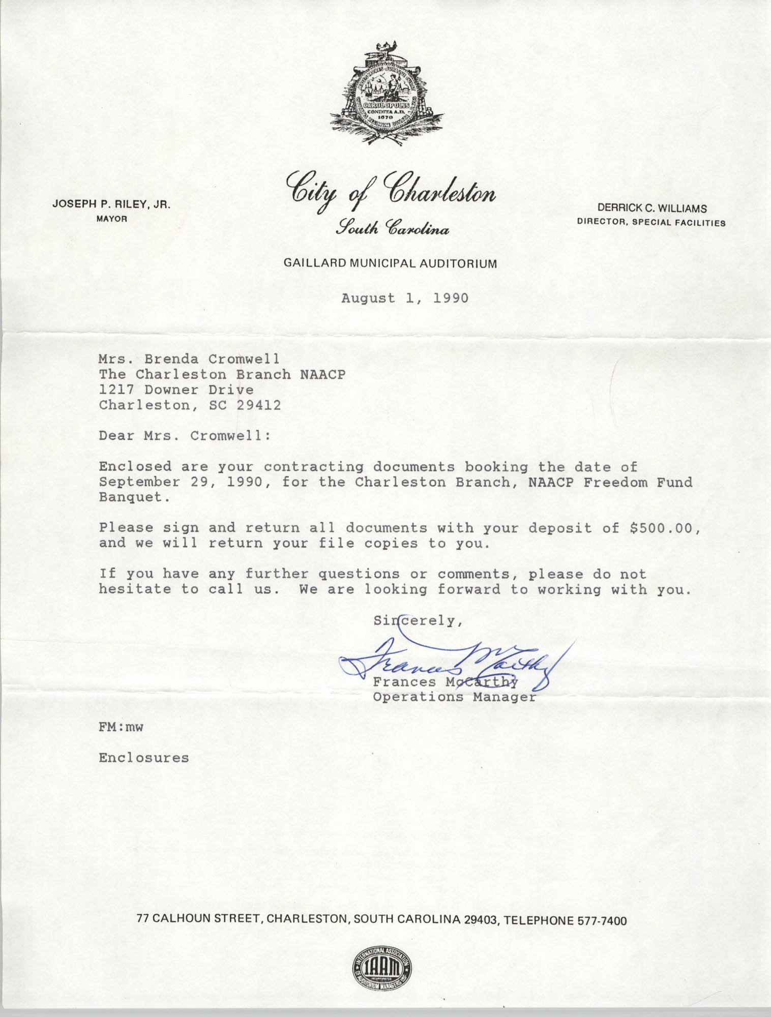 Letter from Frances McCarthy to Brenda Cromwell, August 1, 1990