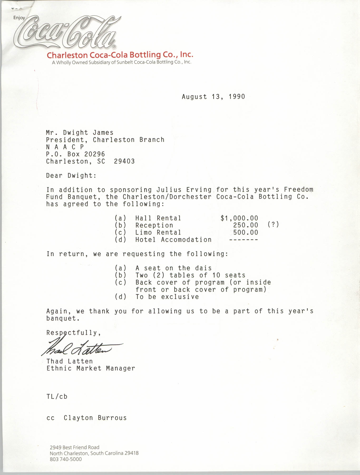 Letter from Thad Latten to Dwight James, August 13, 1990