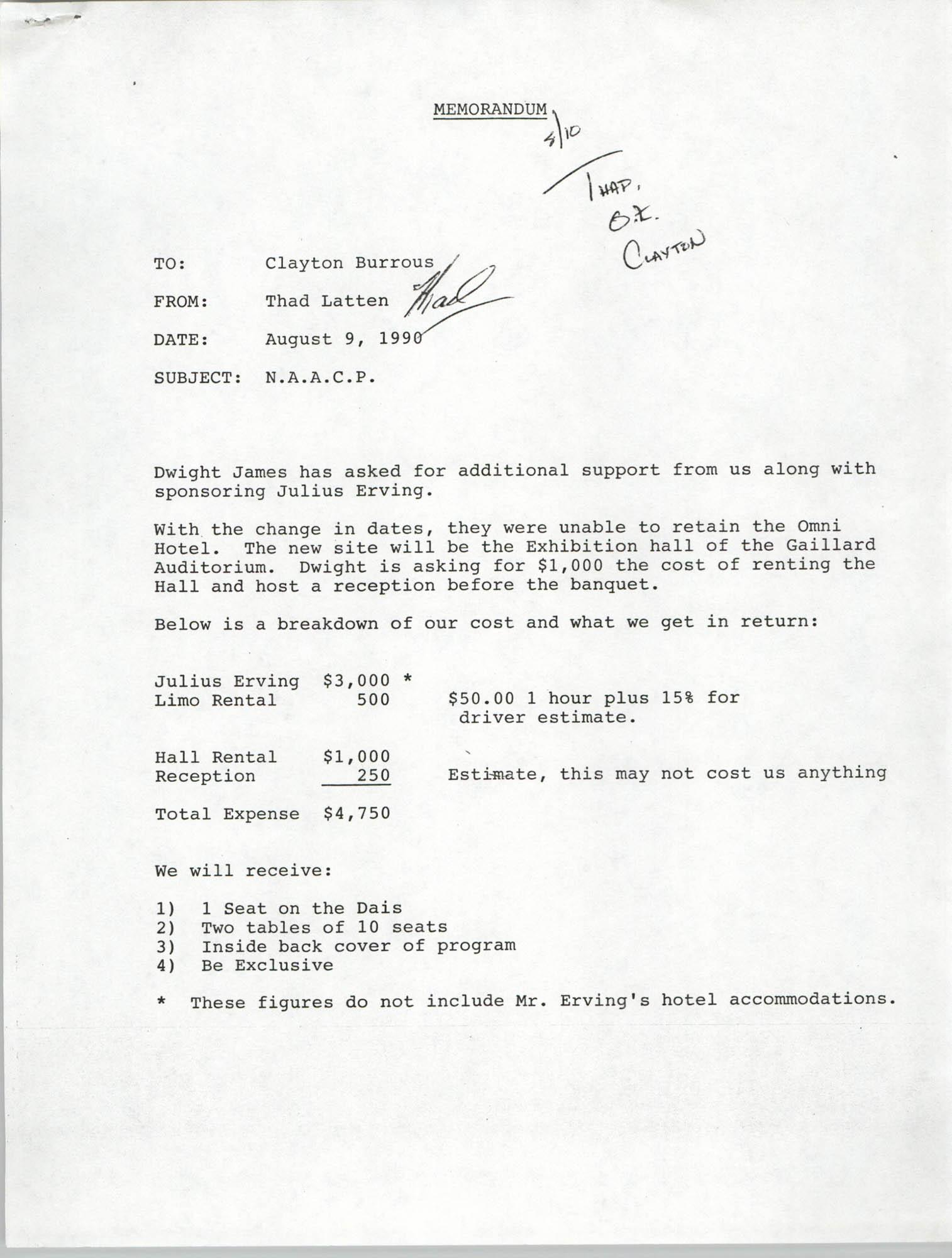 Memorandum, Thad Latten, August 9, 1990