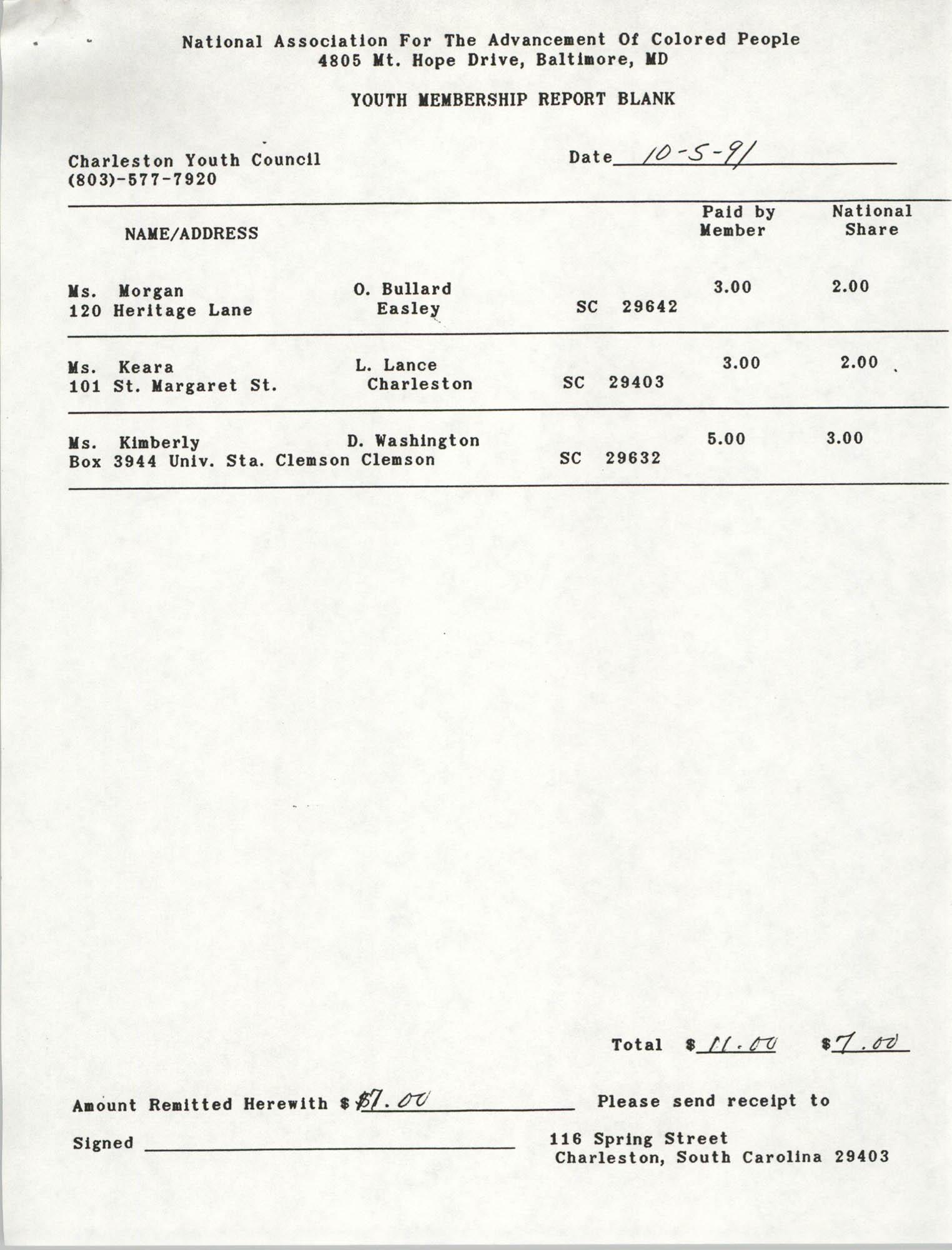 Youth Membership Report Blank, Charleston Youth Council, NAACP, Barbara Kingston, October 5, 1991
