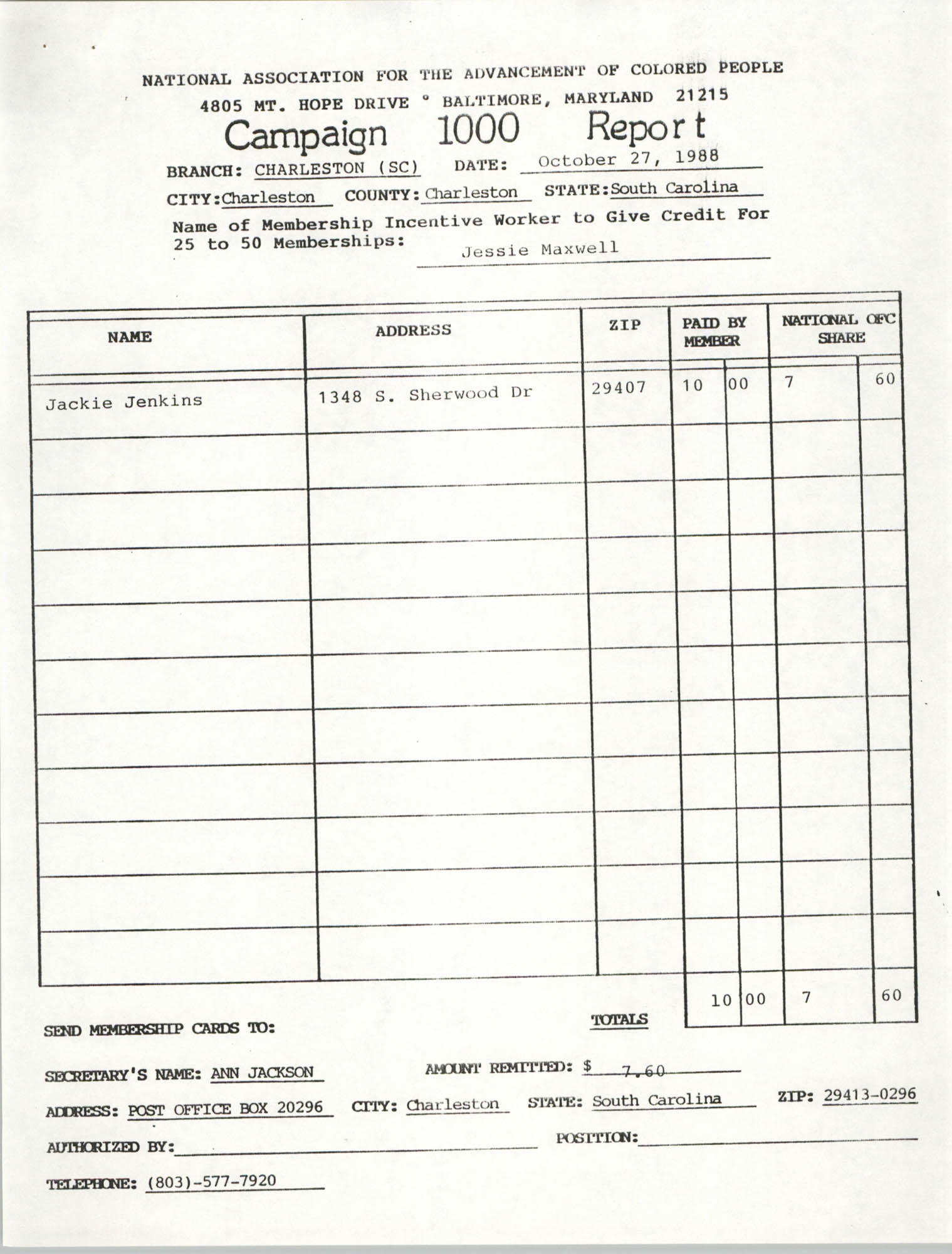Campaign 1000 Report, Jessie Maxwell, Charleston Branch of the NAACP, October 27, 1988
