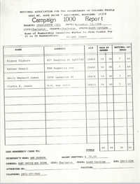 Campaign 1000 Report, Dwight James, Charleston Branch of the NAACP, November 13, 1988