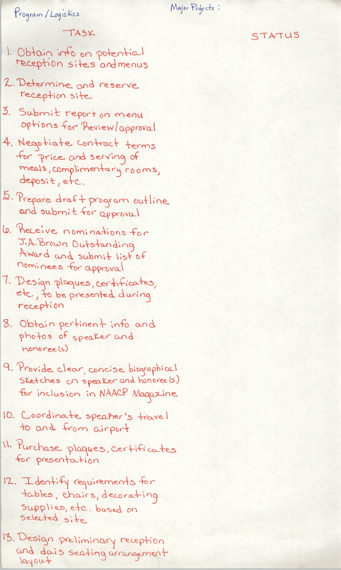 Handwritten List of Tasks, Program/Logistics