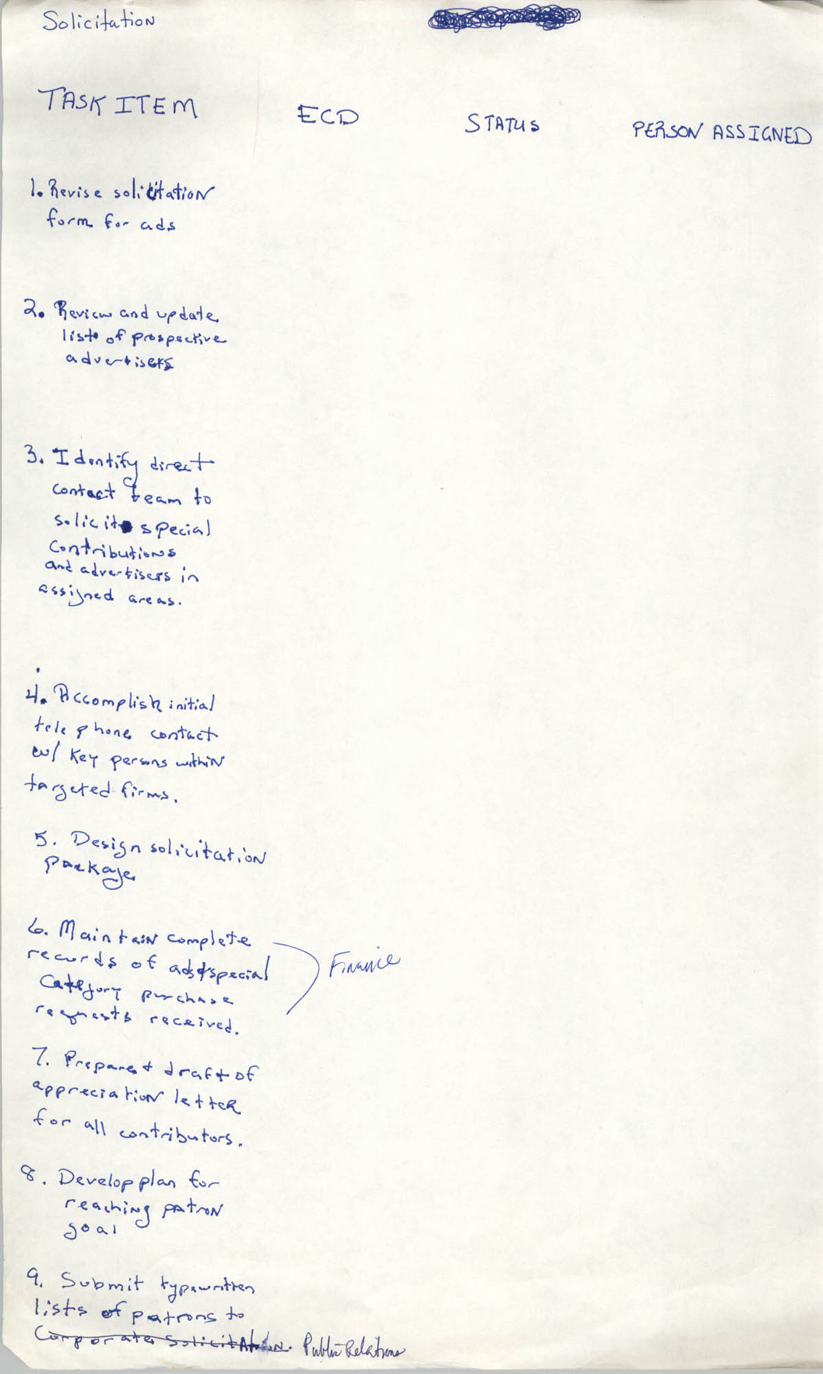 Handwritten List of Tasks, Solicitations