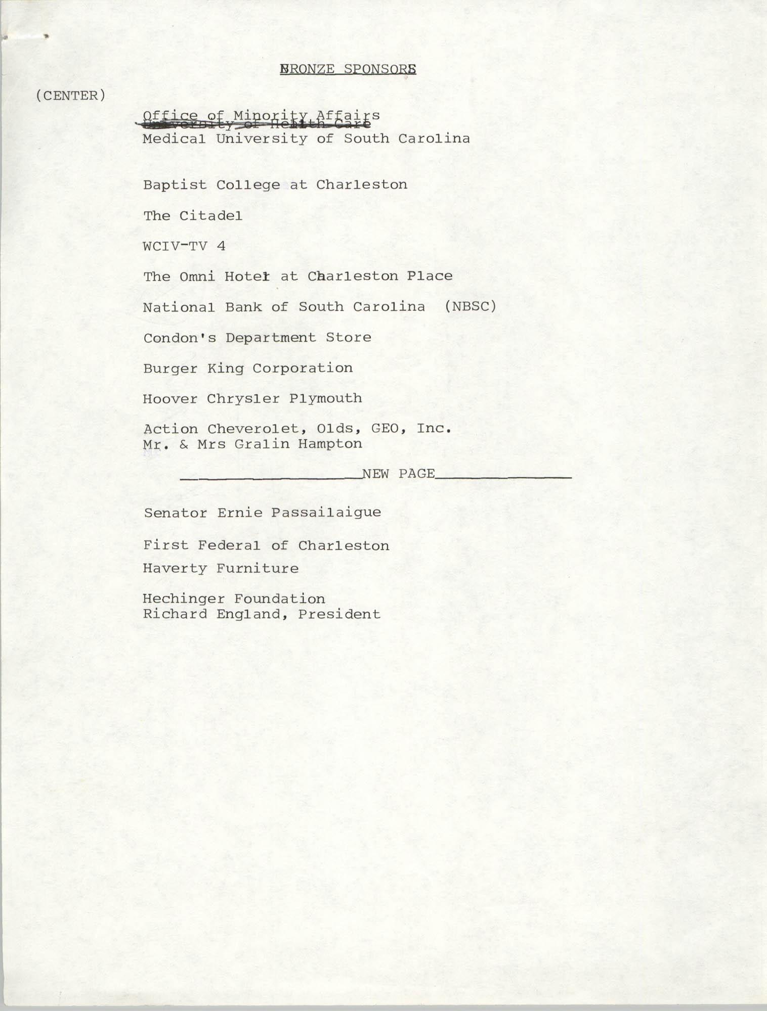 List of Bronze Sponsors