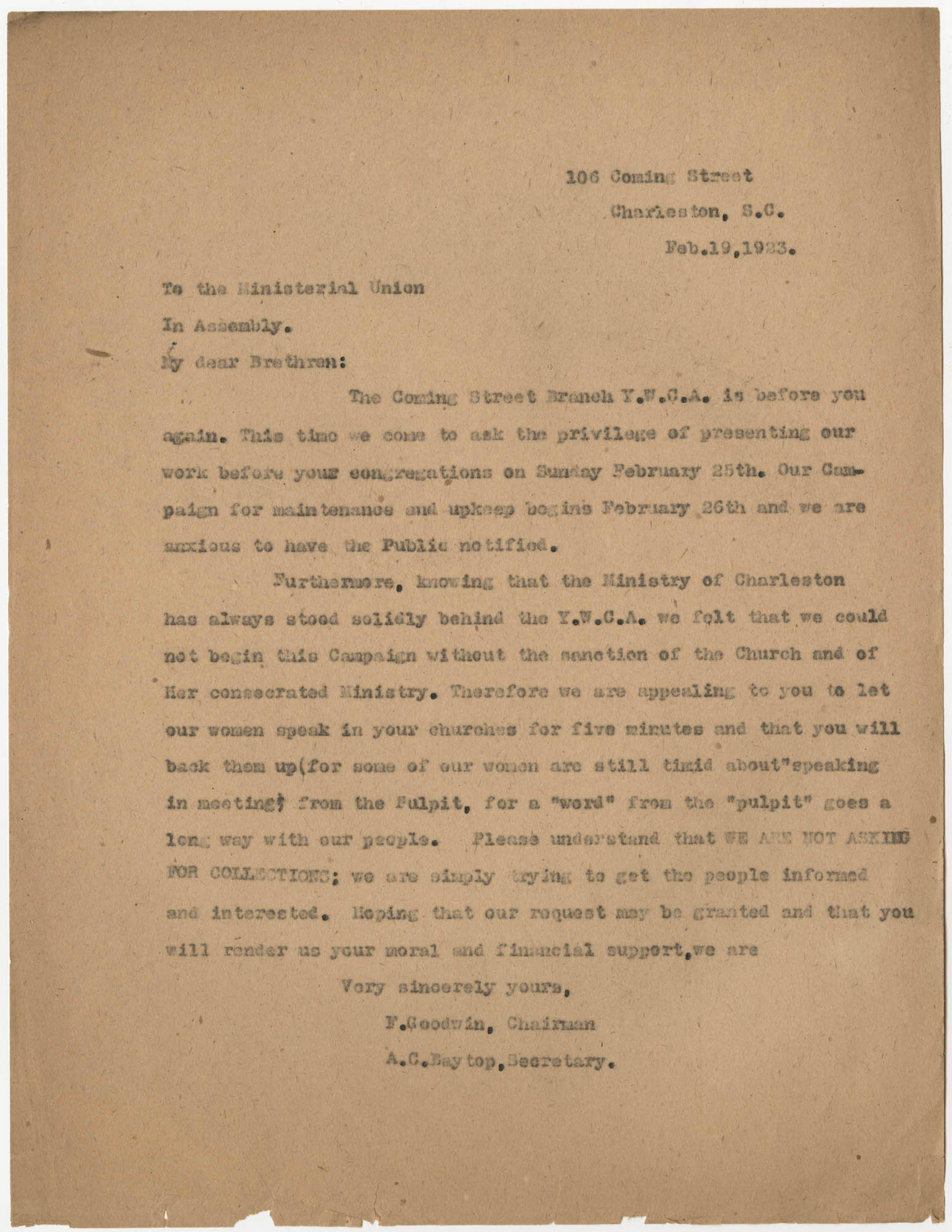 Letter from Felicia Goodwin and Ada C. Baytop to the Ministerial Union, February 19, 1923